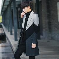 新款风衣男中长款韩版青年修身呢子休闲呢料外套秋冬男士毛呢大衣
