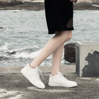 青婉田秋冬季百搭白色板鞋平底真皮小白鞋系带休闲高帮鞋女加绒靴