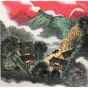 陈平《乡村晚霞》著名画家