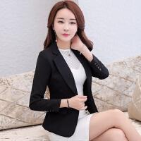 小西装外套女2018春秋装新款韩版修身短款显瘦休闲小西服女士上衣 黑色 正常码