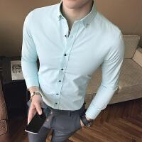 新款小版男装衬衫男长袖小码S号XS码矮小个子韩版修身纯色上班衬