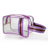 防水浴包健身沐浴袋浴兜洗漱包游泳女士男大容量洗澡包透明化妆包 紫色边 透明HDL508