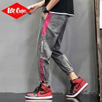 Lee Cooper男士牛仔裤直筒裤宽松夏季新品潮牌百搭运动裤子系带哈伦牛仔裤