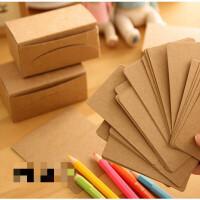 单词卡空白明信片英语diy涂鸦硬质牛皮纸白色小卡片厚留言卡 牛皮纸卡片/三盒 300个