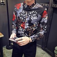 新品18春秋款男士潮流个性大满花长袖衬衫韩版修身青年男式免烫衬