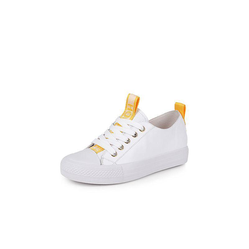 Teenmix/天美意2017秋牛皮个性字母织带学院风系带鞋女休闲鞋女鞋RL609CM7
