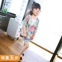 女童夏装短袖套装2018新款夏季雪纺短裤薄款中大童时尚韩版两件套