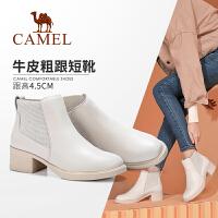 骆驼女鞋2019冬季新款加绒真皮休闲粗跟短靴女百搭时尚中跟靴子女