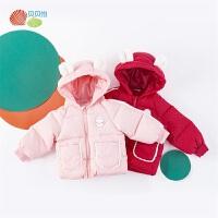 贝贝怡儿童羽绒服冬装新款女宝洋气甜美连帽防风保暖外套上衣194S2247