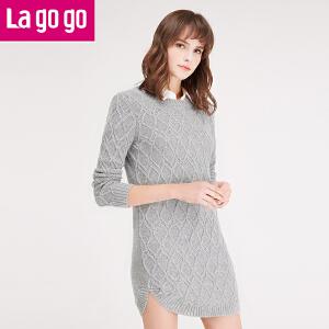 lagogo2016冬季新款韩版女装秋冬针织连衣裙修身长袖