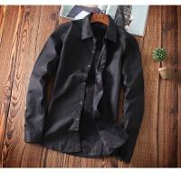 慈姑衬衫男长袖修身冬季韩版加绒加厚商务休闲男士白衬衣潮流保暖寸衫 黑色 加绒