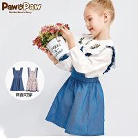 【1件5折 到手价:299】Pawinpaw卡通小熊童装春女童牛仔荷叶连衣裙背带式裙子田园风