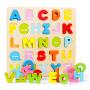 欧培儿童益智玩具木质拼图系列 七彩立体拼板早教幼儿宝宝玩具 英文字母/阿拉伯数字