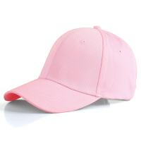 春夏天纯黑色男士棒球帽韩版鸭舌帽子女士潮百搭运动帽粉色遮阳帽 可调节