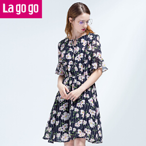 Lagogo拉谷谷2017夏季新款雪纺高腰圆领连衣裙女碎花荷叶袖裙子