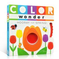 【全店300减100】英文原版 Color Wonder Hooray for Spring!启蒙认知春天的颜色 奇迹万