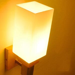 【每满100-50】创意木灯 木艺楼梯 玄关过道灯 卧室床头灯 玻璃实木壁灯YX-LMD-2129