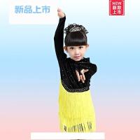 女童春秋季新款拉丁舞裙儿童比赛演出服丝绒长袖练功服拉丁连衣裙