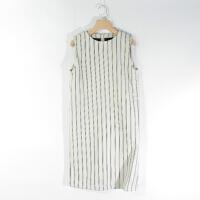CA0893精品秋冬新款圆领后隐形拉链显瘦女条纹无袖直筒连衣裙