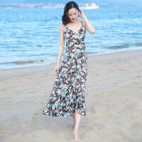 夏季新品女装露背中长裙子雪纺连衣裙波西米亚海边度假沙滩裙 图片色XZB670