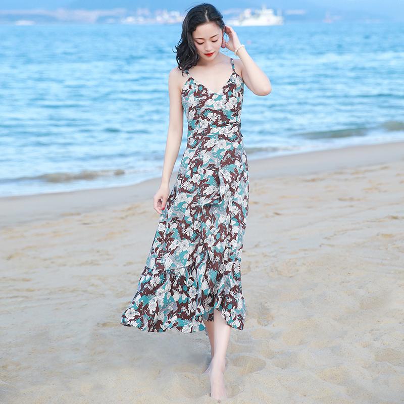 夏季新品女装露背中长裙子雪纺连衣裙波西米亚海边度假沙滩裙 图片色XZB670 发货周期:一般在付款后2-90天左右发货,具体发货时间请以与客服协商的时间为准