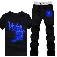 夏季鬼步舞夜光短袖T恤嘻哈街舞曳步舞荧光运动套装衣服个性男装