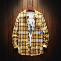 新款长袖衬衫韩版潮流宽松男格子休闲衬衣男装衣服寸衫外套