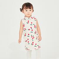 戴维贝拉女童连衣裙2021夏装新款儿童裙子女宝宝中国风汉服旗袍裙