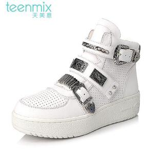 Teenmix/天美意专柜同款时尚牛皮女靴6D341DD5