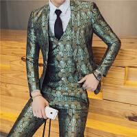 春节款男士潮流舞台主持人提花西服套装韩版修身青年小伙三件套