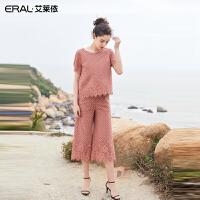 艾莱依2019春夏新款优雅小香风蕾丝上衣阔腿裤两件套女601828127