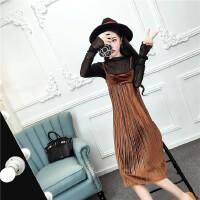春秋新款韩版套装裙女透视长袖网纱上衣+压褶吊带连衣裙两件套装
