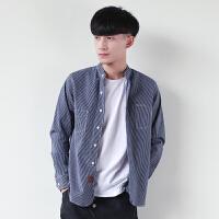 春季日系水洗竖条纹长袖立领修身牛仔衬衫潮流青少年男士休闲衬衣