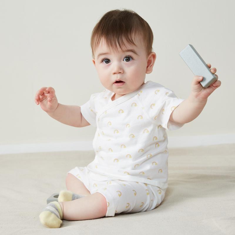 【2件4折】迷你巴拉巴拉男女新生儿纯棉短袖套装夏新款婴儿可爱和尚服两件套