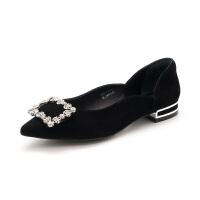 迪芙斯(DFUSE)2019年春季专柜同款绒面羊皮革水钻饰扣金属跟时髦单鞋女DF91111006