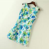连衣裙夏季复古文艺风学生显瘦裙子无袖小清新少女装中裙子