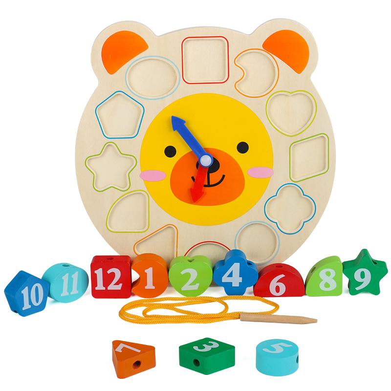 木制儿童智力形状配对婴幼儿积木1数字时钟2-3岁宝宝6益智力玩具