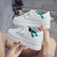 新款小白鞋女韩版百搭厚底内增高休闲鞋板鞋魔术贴镂空透气夏