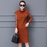 秋冬装新款蕾丝拼接针织两件套连衣裙女长袖中长款修身毛衣套装裙