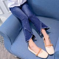 儿童牛仔裤 女童秋季韩版新款单色不规则喇叭裤时尚休闲舒适中大童款式裤子