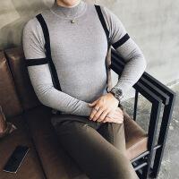 秋季新款 英伦绅士型男 时尚修身潮撞色个性青年针织毛衣 男