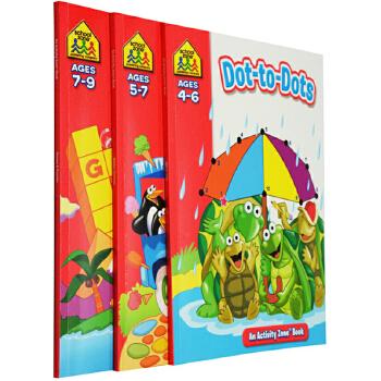 【4-9岁活动练习3册】School Zone Activity Zone Workbooks Dot-to-Dots/Hidden Pictures/Games Puzzles 家庭练习英文原版