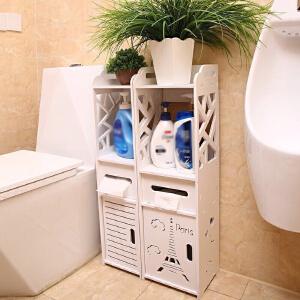 门扉 卫生间边柜 置物架浴室侧壁纸抽收纳架马桶收纳柜镂空木塑板多功能储物架