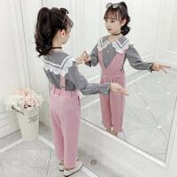 童装2019秋季新款女童娃娃领背带裤套装儿童衬衫+背带裤两件套