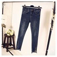 2018春装新款韩版紧身牛仔裤拉链不规则高腰九分小脚裤女显瘦复古 蓝色 深色 偏黑