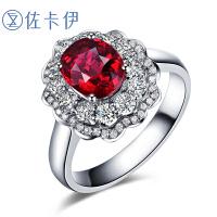 佐卡伊 蓝宝石彩色宝石镶钻石戒指 彩宝