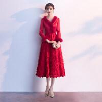 新娘敬酒服冬季红色长袖加厚结婚礼服女长款订婚答谢宴