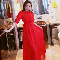 本命年红色连衣裙春夏装2018新款女显瘦小心机雪纺海边度假沙滩裙 红色