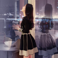 2017冬季新款女装小香风长袖打底针织连衣裙秋冬显瘦a字蓬蓬裙厚 提花黑色针织连衣裙