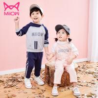 猫人宝宝秋装套装2019新款女童洋气卫衣时髦儿童套头运动两件套